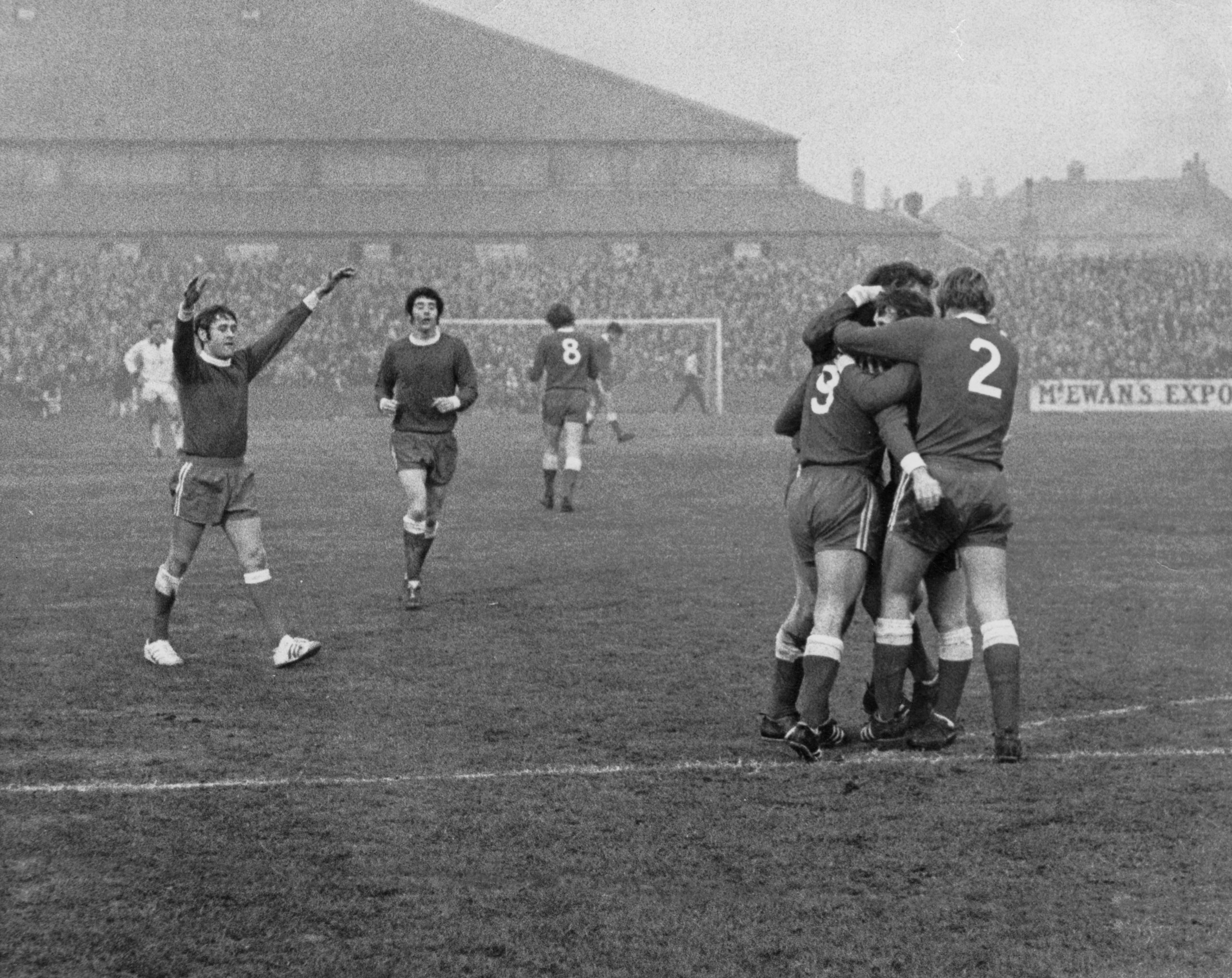Jim Forrest is surrounded by team-mates after his goal for Aberdeen in Perth on January 2, 1971.