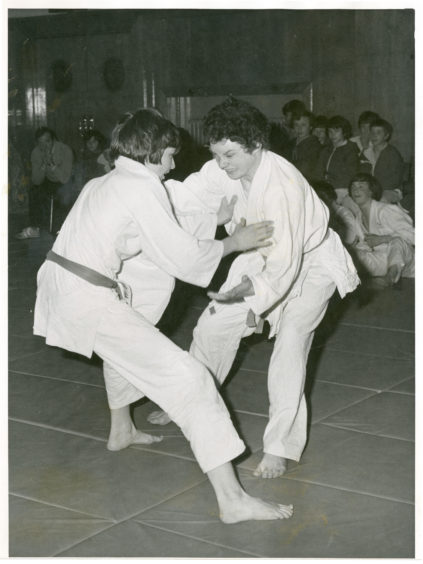 1978: A study in concentration as John Sim (right) of Powis, and Peter Howie (Torry) do battle at the Aberdeen Academies' judo team championships in Powis Academy.