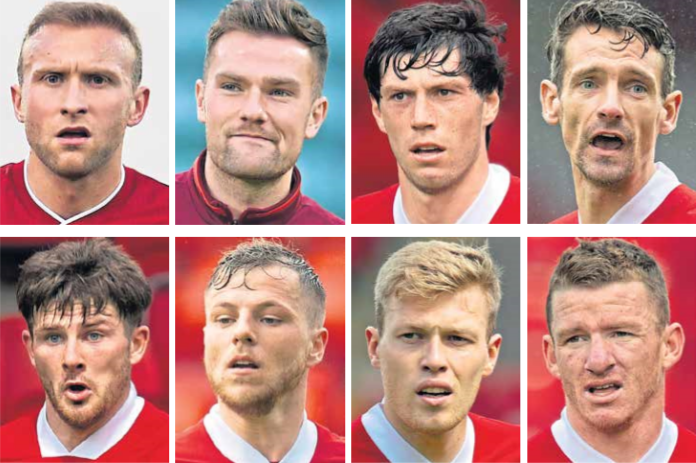 The eight Aberdeen players who breached Covid-19 protocols, clockwise from left, Dylan McGeouch, Mikey Devlin, Scott McKenna, Craig Bryson, Jonny Hayes, Sam Cosgrove, Bruce Anderson and Matty Kennedy