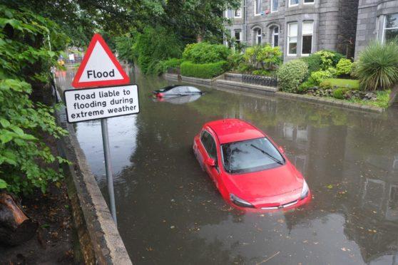 Polmuir Road flooding two weeks ago