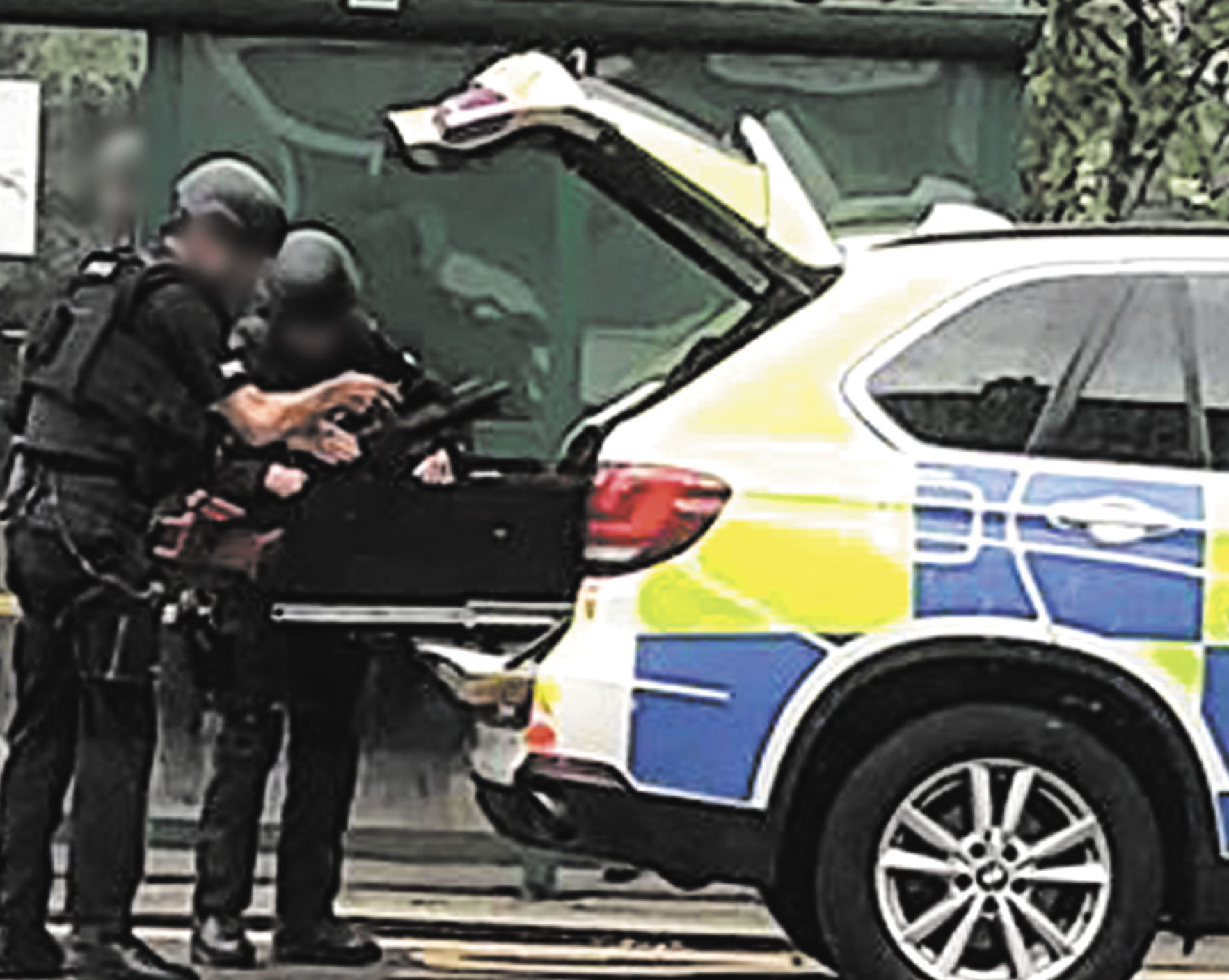 Police at the scene of the incident yesterday