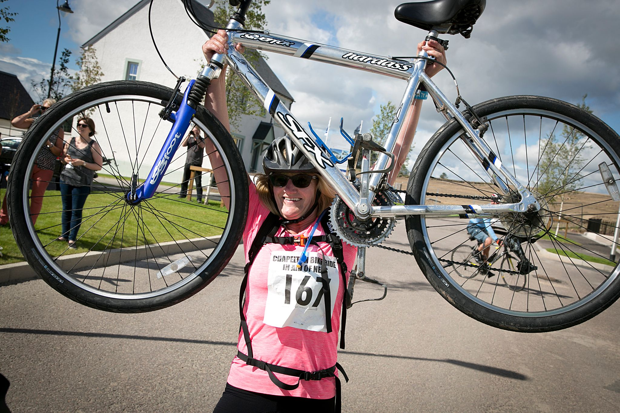 A participant in the Chapelton bike ride