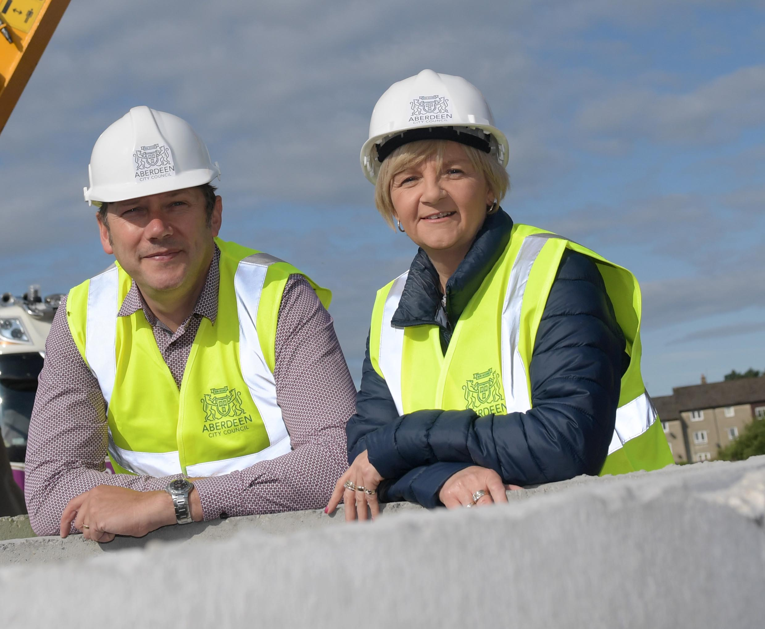 Councillors Douglas Lumsden and Jenny Laing at the Summerhill site