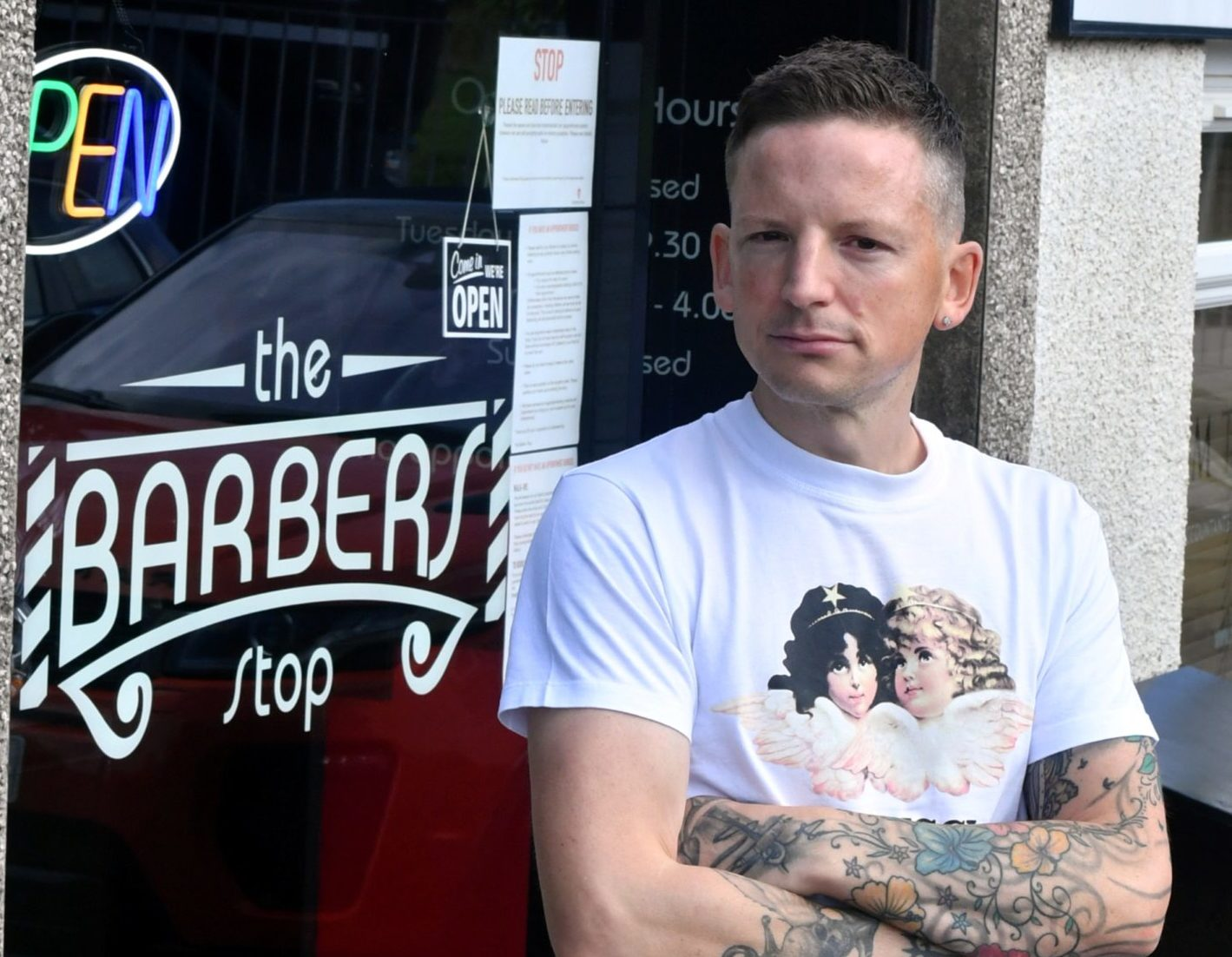 Colin Morrice who owns the Barber Stop on Wellington Road
