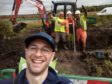 Edoardo Bedin meets construction workers on his 800km hike around Scotland