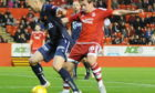 Picture from Aberdeen v Viking FK in the Energy Cities Communities Cup match at Pittodrie in 2015. Aberdeen's Peter Pawlett and Viking FK's Anthony Soares. Picture by Chris Sumner