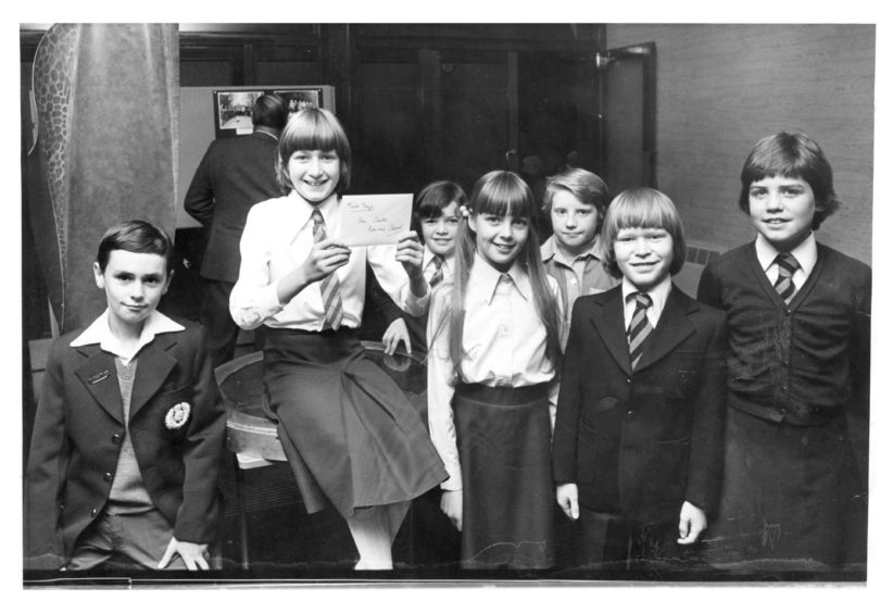 1978: Bailies of Bennachie essay competition prize winners (left to right) Arthur Smith, Kintore (third prize); Isla Salter, Kenmay School (winner); Carron Smith, Kemnay School (merit prize); Donna Cornwell, Alehousewells School, Kemnay (second prize); Katherine Low, Kemnay School (merit winners); Justin Lamb, Strathburn School (special prize); and Kim Sharp, Strathburn School (merit prize).