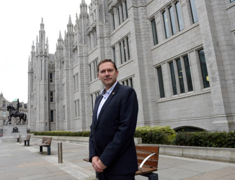 Pictured is Councillor Douglas Lumsden of the Scottish Conservative Party outside Marischal College, Aberdeen Picture by DARRELL BENNS     Pictured on 19/05/2017