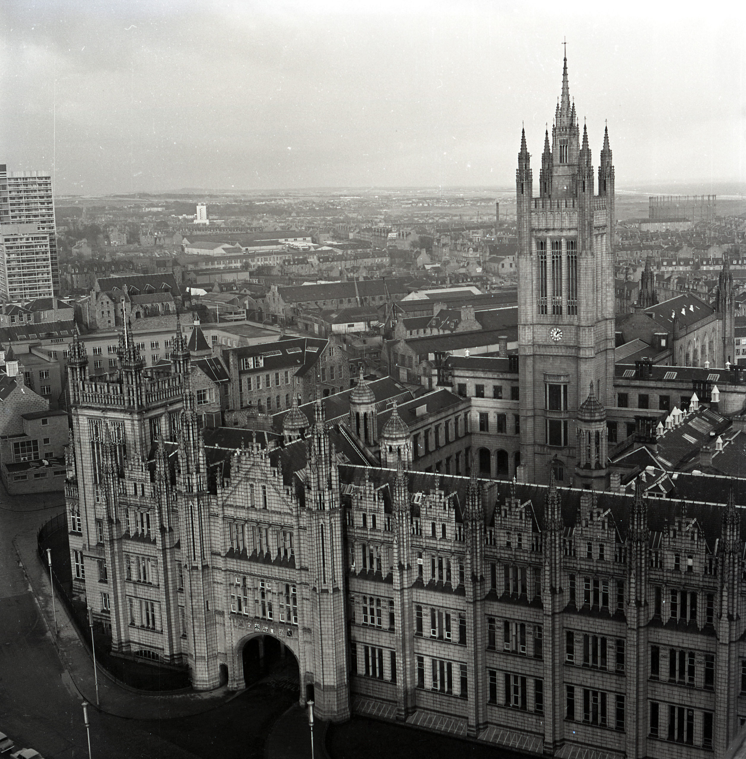An aerial view looking down on Marischal College, Broad Street, Aberdeen.