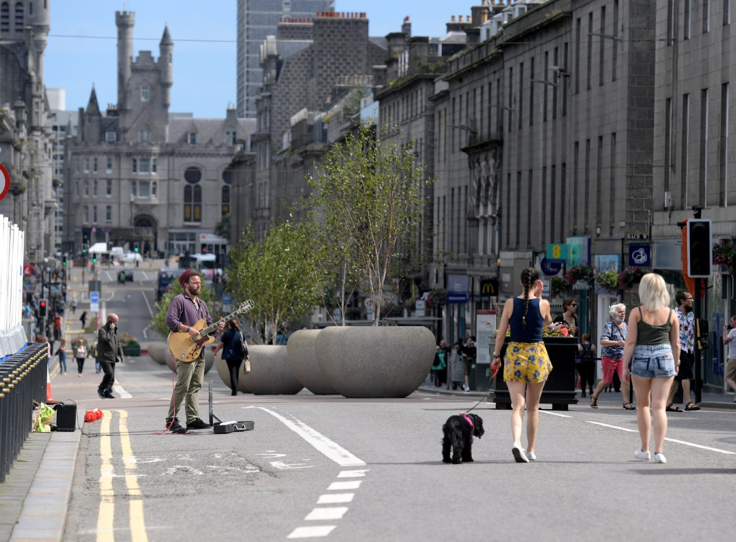 Part of Union Street was pedestrianised as part of the Spaces for People scheme. Picture: Kath Flannery