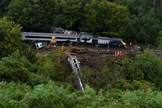 The scene of the derailment at Carmont near Stonehaven