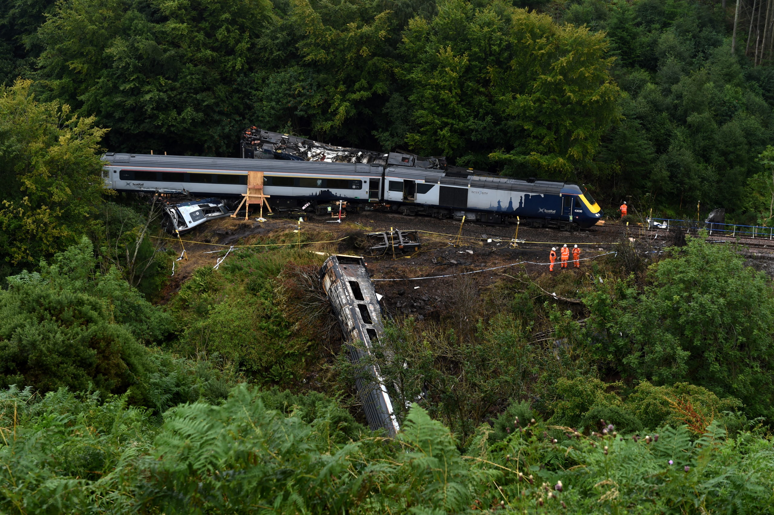 The scene of the derailment at Carmont near Stonehaven