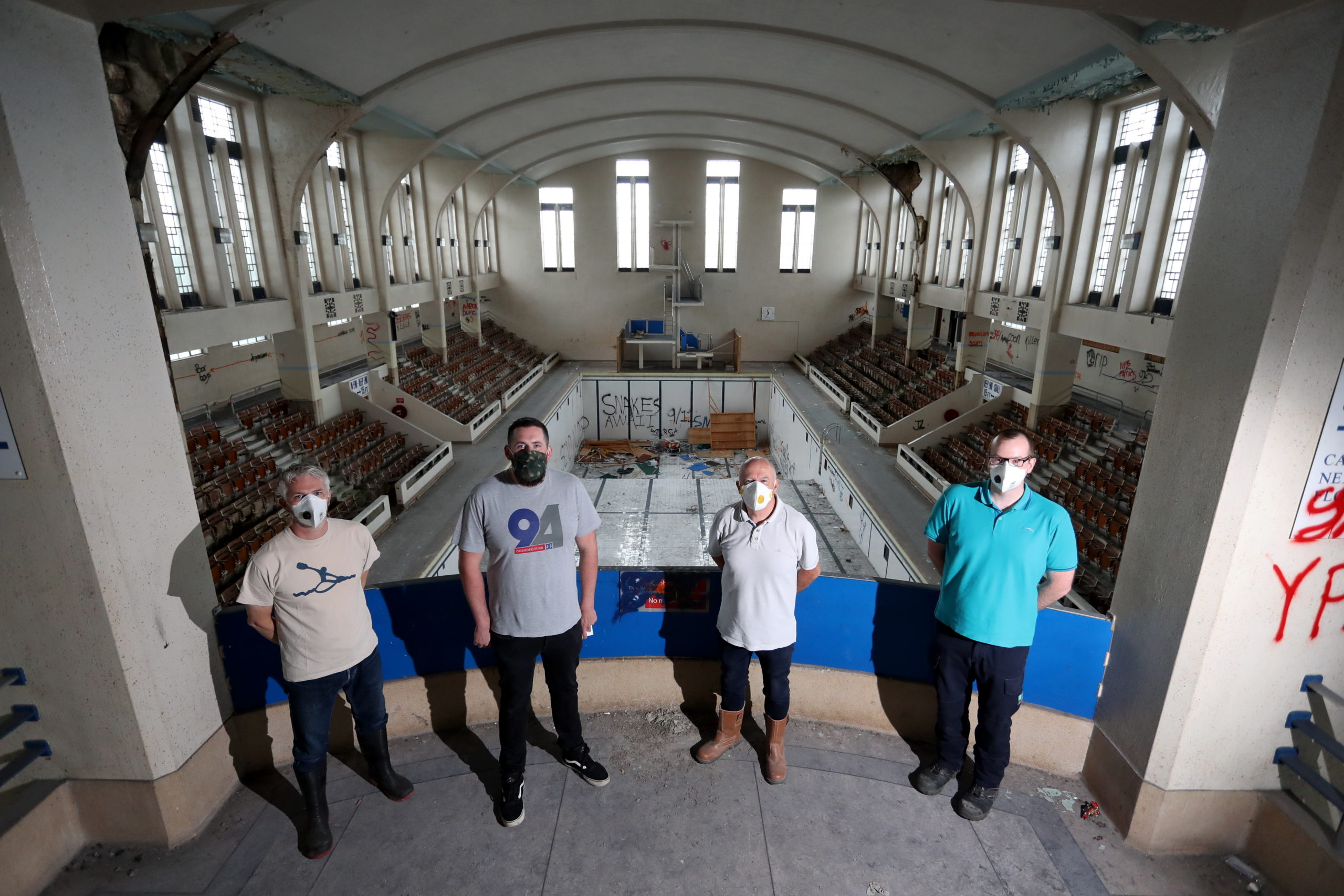 From left, Bruce Strachan, Steven Cooper, Ian Mitchell and Craig McAndie of Save Bon Accord Baths. Picture by Scott Baxter