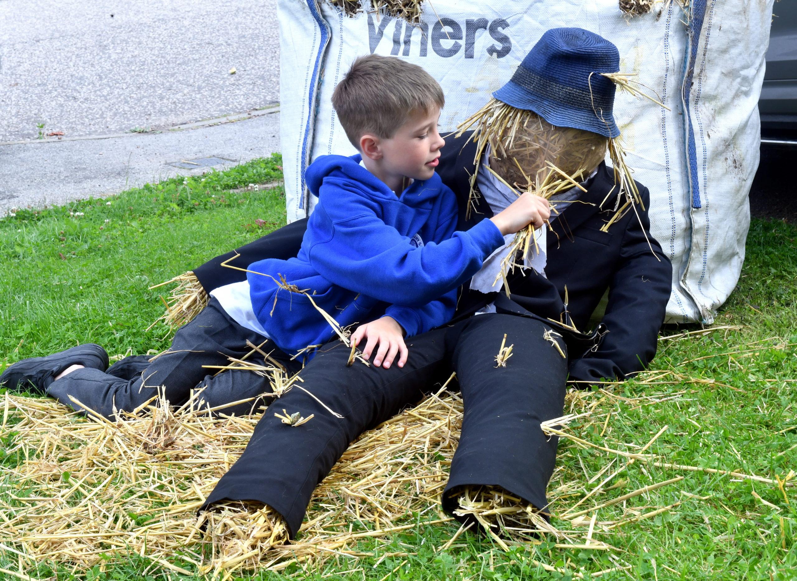Harry with Worzel the scarecrow.