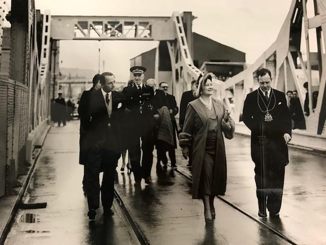 The Queen Mother inspecting St Clements Bridge during it's opening, 30th September 1953