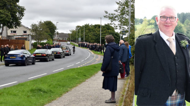 Residents lined the streets to pay a poignant farewell to Donald Dinnie, right