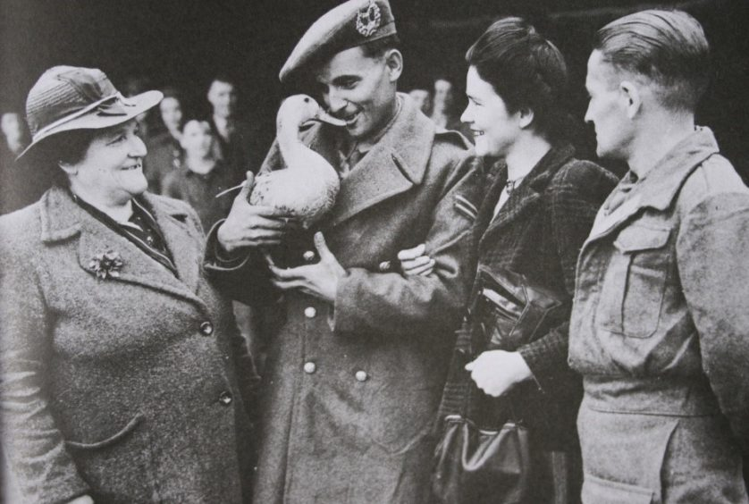 Cpl Willie Gray brought a duck, nicknamed Donald, back from the Far East after VJ Day.