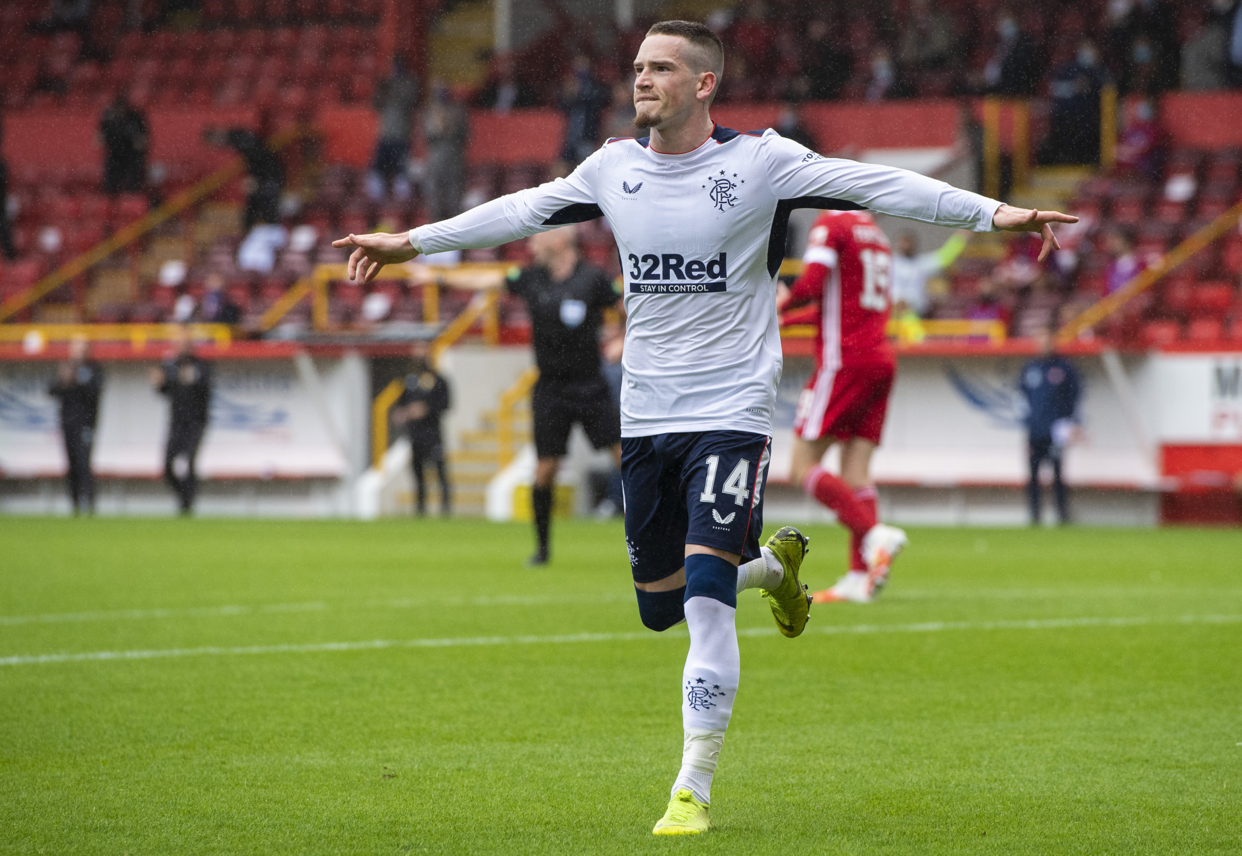 ABERDEEN, SCOTLAND - AUGUST 01: Rangers' Ryan Kent celebrates making it 1-0 during the Scottish Premiership match between Aberdeen and Rangers at Pittodrie on August 01, 2020, in Aberdeen, Scotland.