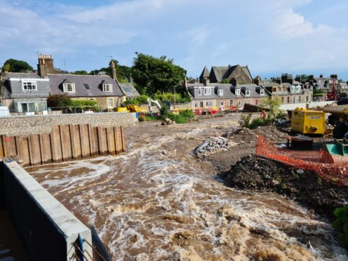 Torrential rain raised the water levels of the Carron river on August 12.