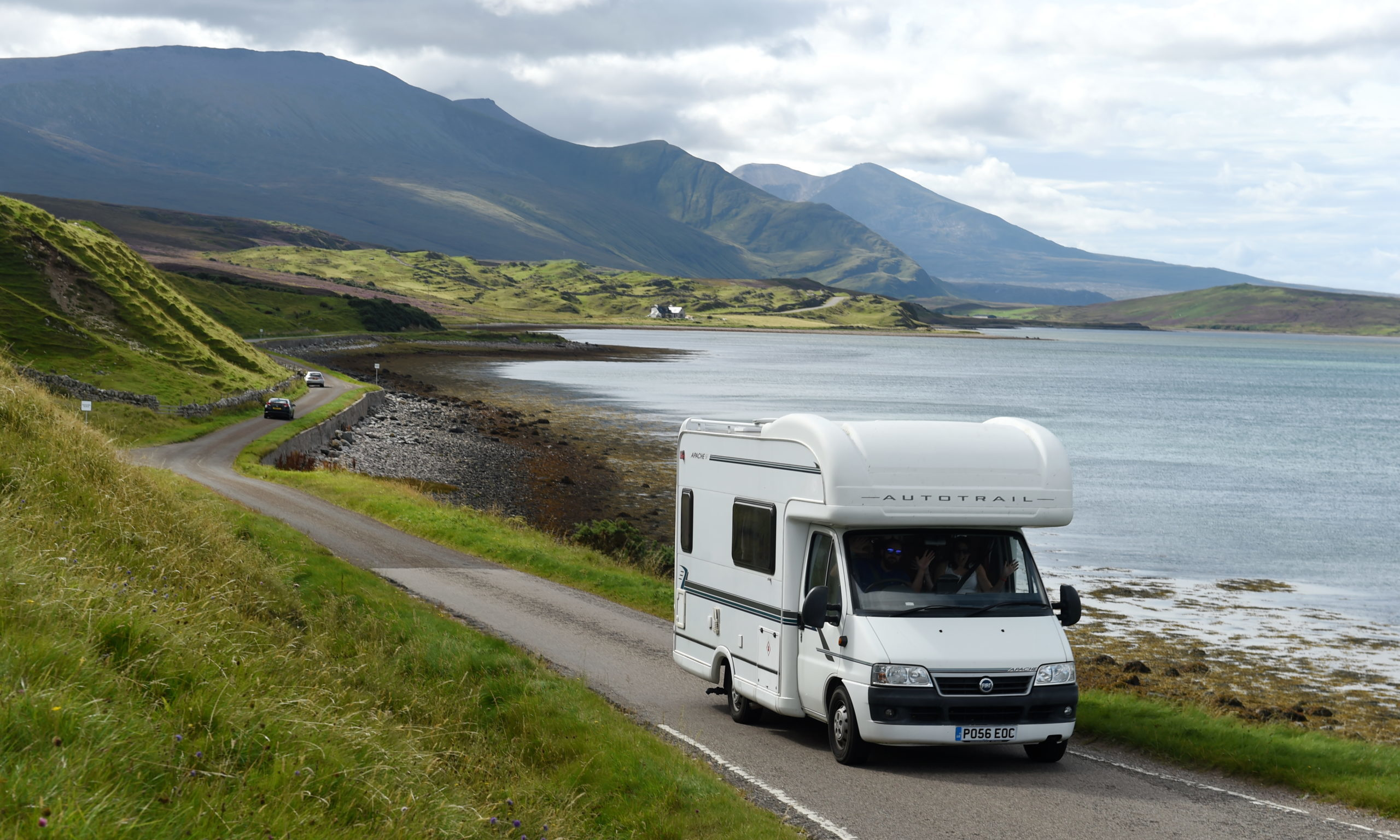 Picture by SANDY McCOOK  25th August '20 CR0023008   Motorhomes on the single track road alongside the Kyle of Durness in Sutherland, part of the NC500. Wild and 'Dirty Camping' problems in Northwest Sutherland, particularly the Durness area.