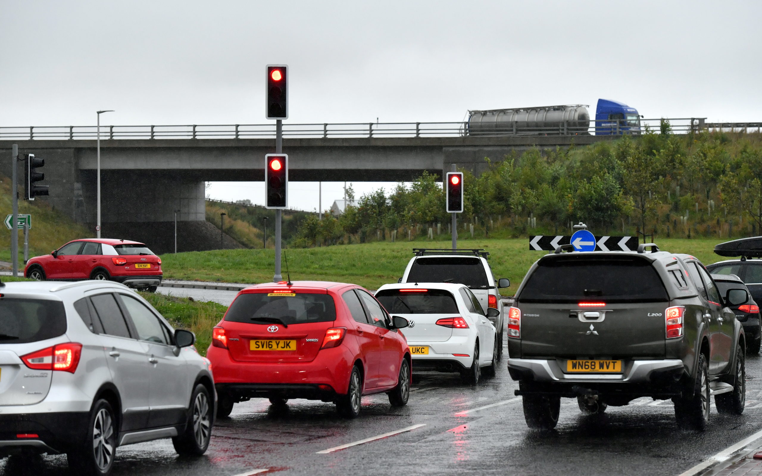 Traffic lights have been installed at the Kingswells South roundabout