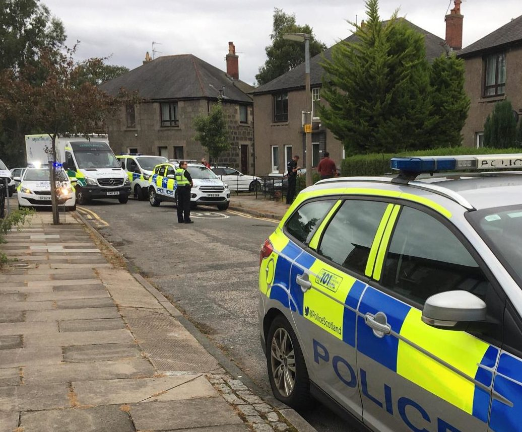 The police presence at Ruthrieston Circle, Aberdeen.  Courtesy Gregor McAbery