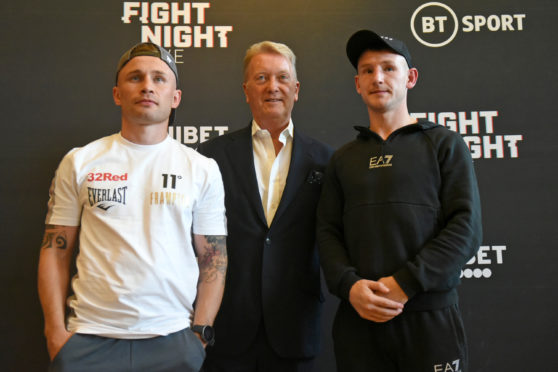 From left, Carl Frampton, Frank Warren and Darren Traynor before the lightweight bout.