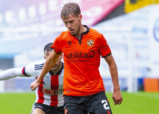 Kieran Freeman playing for Dundee United in a pre-season friendly against Sheffield United in August.