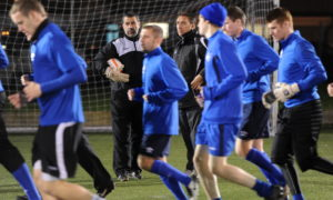 Jim McInally takes Peterhead training for the first time in 2011.