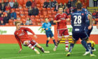 Aberdeen's Scott Wright (left) fires it home to equalise for Aberdeen during the 2015 friendly against Viking FK.