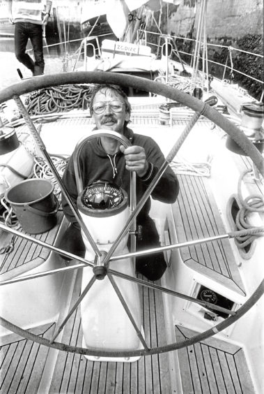 1988: Bob Tait, from Aberdeen, on board his yacht Blue Note, which he took delivery of only on Tuesday.