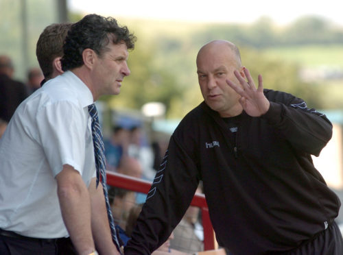 Former Peterhead manager Steve Paterson (left) discusses tactics with assistant manager Neale Cooper