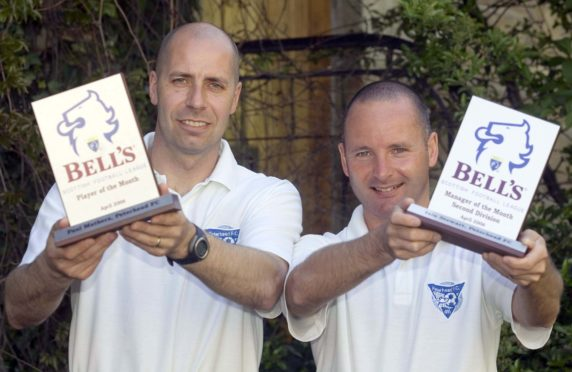 Iain Stewart (right) and Paul Mathers were in charge of Peterhead when they almost reached the First Division in 2006.