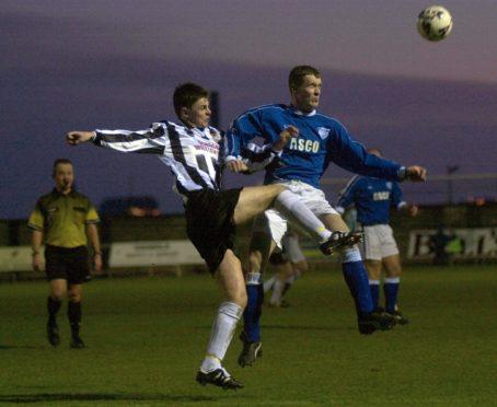 Former Peterhead defender Steve King (right) in action against Elgin City