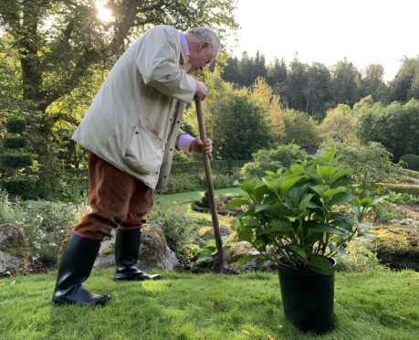 The Duke of Rothesay plants a hydrangea at his Scottish home in Birkhall, to celebrate The Horitcultural Trades Association's Million Planting Moments Campaign