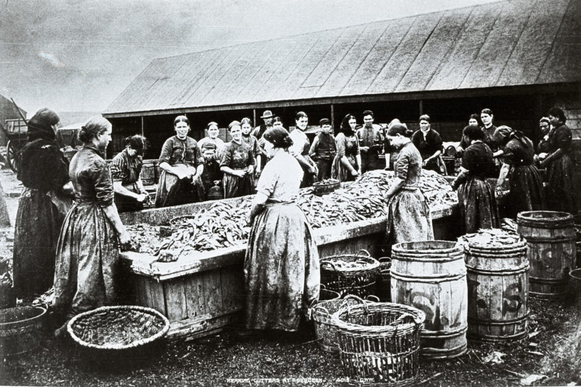 Photograph of herring gutters at a Point Law yard in around 1900. These selected images have been only a partial glance at Aberdeen's ever-changing connection to the sea. In the second half of the 20th century the oil and gas industry would emerge and radically change this relationship once more.