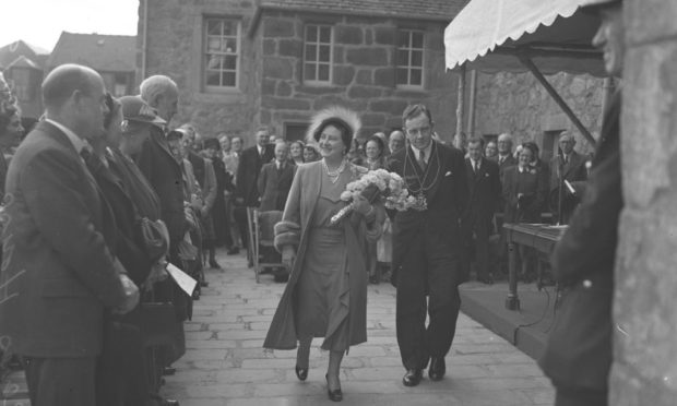 The Queen Mother opens a restored Provost Skene House in 1953.