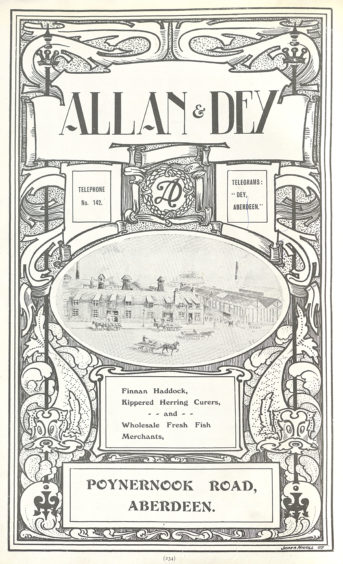 The area between the railway lines and Market Street, created by the harbour and river works of the 1870s, was another hub of fish processing and sale. This 1907 advert for Allan & Dey includes an illustration of their Poyernook Road premises and lists their services and products.