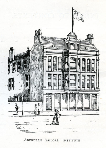 Aberdeen Sailors' Mission and Home was established in 1862 to support seafarers who had fallen on hard times. The premises on Mearns Street shown here were built in 1894. They have since been demolished and developed as modern flats. The building's granite façade has been retained, however.