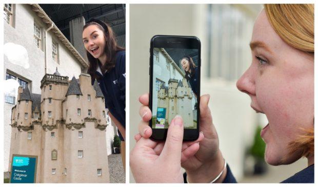 Craigievar Castle pictured through augmented reality.