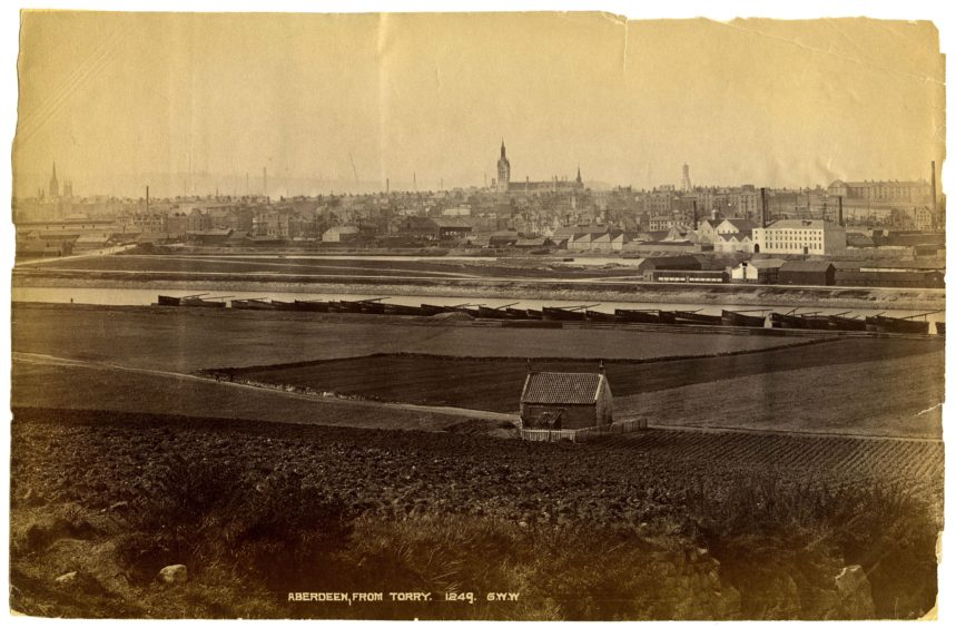 George Washington Wilson photograph showing harbour developments in the 1870s. Between 1869 and 1873 the Town Council diverted the River Dee to a more southernly and controlled course. As shown here, Albert Basin was created and ground was reclaimed for the harbour we know today.