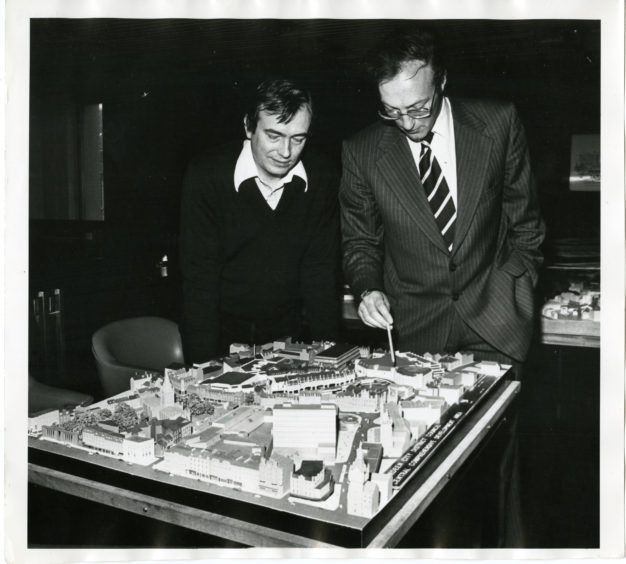 1980: A model of the proposed £24 million redevelopment of Aberdeen's George Street area, being viewed by city councillors.