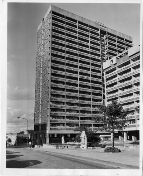 1981: Underneath this highrise block on the summit of Windmill Hill, Aberdeen, lies the site of the first Aberdeen play field