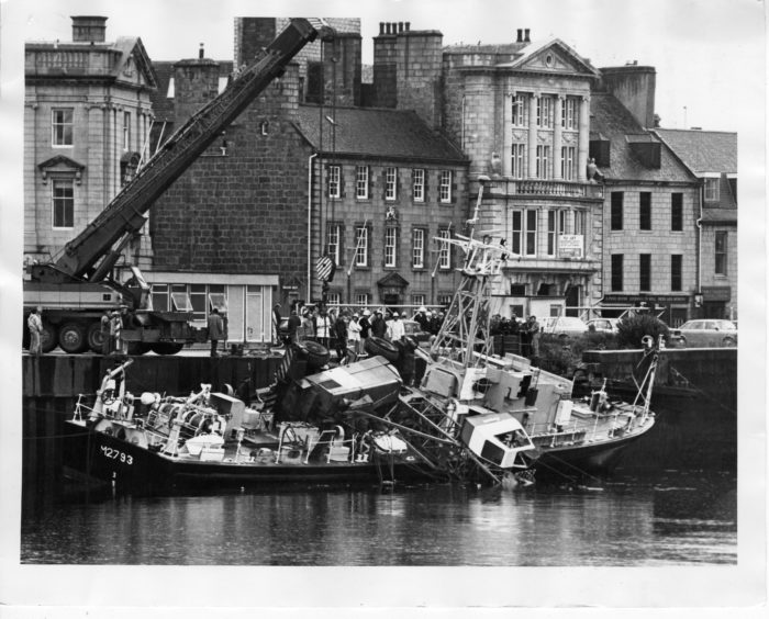 1984: An accident at Aberdeen Docks, when a crane toppled over on the deck of a naval training ship.