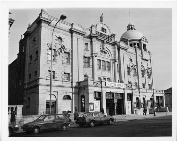 1985: Exterior of His Majesty's Theatre, Aberdeen.