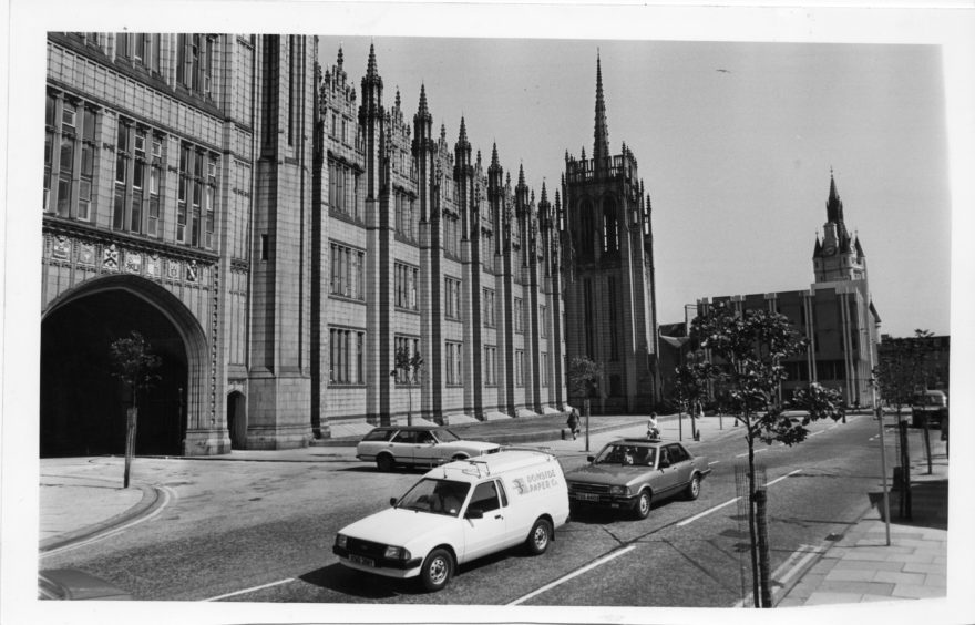 1980s: Picture of Marischal College, Greyfriars Church on Broad Street, Aberdeen. Aberdeen Town House far right.