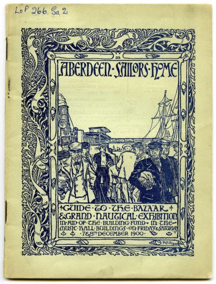 Front cover of a programme for an Aberdeen Sailor's Home fundraising event held at the Music Hall in 1900. The nautical design is by Robert Douglas Strachan, a graduate of Gray's, who went on to be a prominent stain glass window artist during the 20th century.