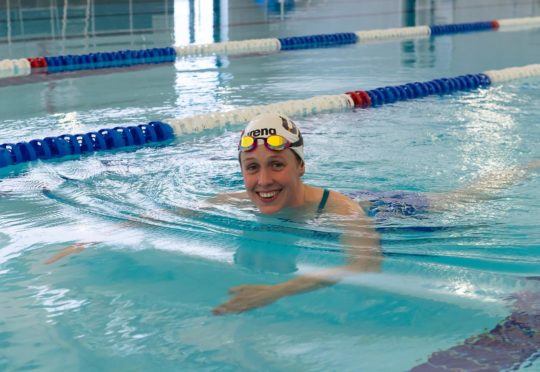 Hannah Miley takes a dip in the new pool at Inverurie Community Campus. Picture courtesy of Aberdeenshire Council.