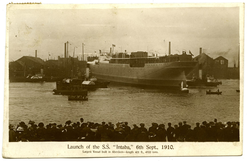 Aberdeen was also a significant centre of shipbuilding. This postcard shows the launch of the steamship Intaba on 6th September 1910. The ship was constructed Hall, Russell & Company at their York Street yards and carried passengers and cargo. The postcard describes it as the largest vessel built in Aberdeen.