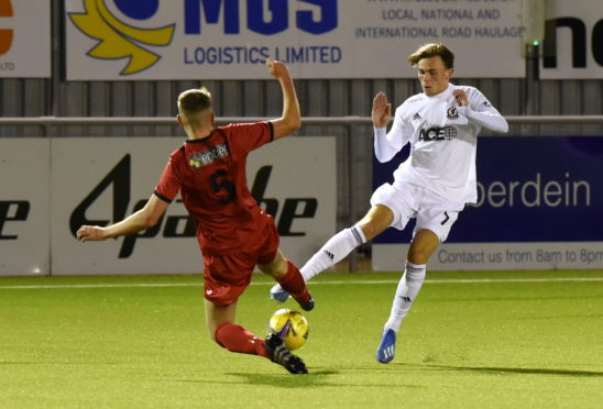 Broque Watson in action in Tuesday's pre-season friendly against Fraserburgh